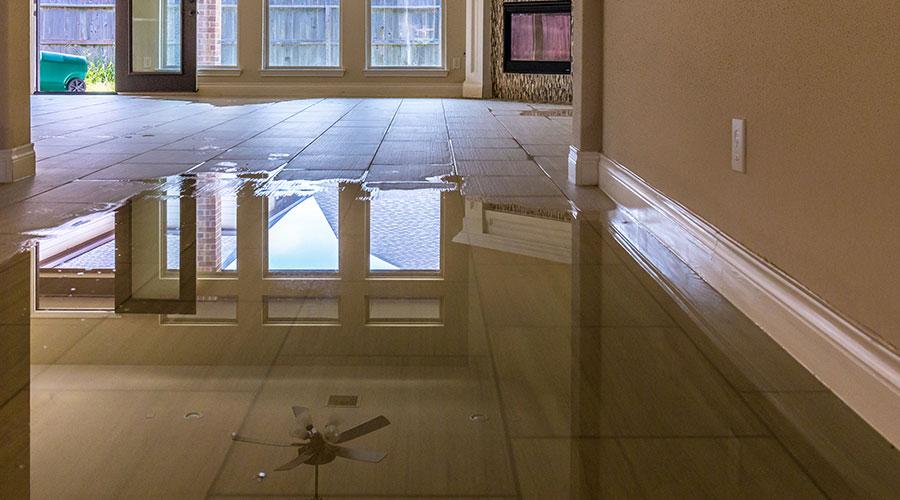 Water on tile floor - water damage